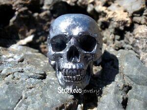 Black Gold Plated Skull Men's Ring, Solid Sterling Silver Handmade Skull Ring