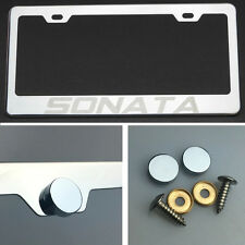 Sonata Laser Engrave Polish Stainless Steel License Plate Frame Chrome Screw Cap