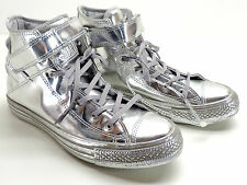 Converse Brea Silver Metallic Leather All Star High Top Sneakers Size 8 New!