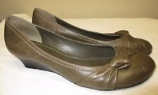 Comfy! Gianni Bini Olive Green Leather Twist Knot Ballet Flats/Wedge Size 11M