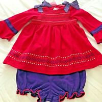 Goodlad Red Smocked Baby Girl Dress & Bloomers Set, 12M