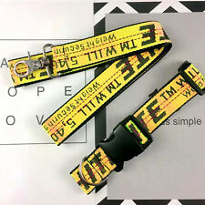 US OFF WHITE Yellow Industrial Dog Cat Collar Lead Belt Strap Collar & Lead Sets