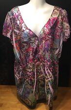 One World Let & Let Live Women's Multi Color Floral Short Sleeve Top Plus Sz 1X