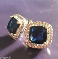 MS Square Blue sapphire & cz, silver / white gold gf stud earrings BOXED Plum UK