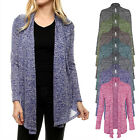 Women's Two Tone Open Front Draped Knit Cardigan Jackets Made in USA S,M,L