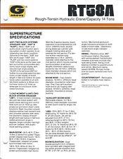 Equipment Brochure - Grove - Rt58A Rough Terrain Hydralic Crane - c1985 (E4036)