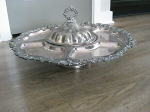 Silver Plated Lazy Susan Tray with Cover and Floral Detail Trim