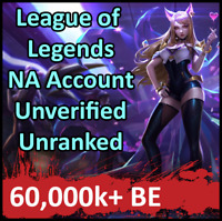 League of Legends Unranked Account NA LOL Smurf 60,000k+ BE Level 30+