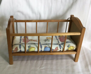 "Vintage Strombecker Wooden Doll Crib for 8"" Dolls"