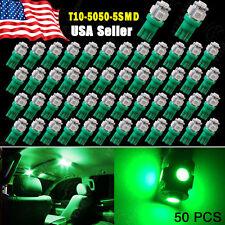 50 X Green T10 Wedge 5SMD 5050 LED Interior Light Lamp Bulb 168 194 2825 175 12V