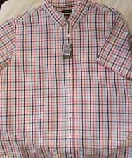 Men's 4XB Plaid Cotton Poplin Casual Shirt Short Sleeve Button Down BiG & TaLL