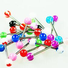 Brust Zungen Piercing Set 12 UV Kugeln + 6 Stäbe ANGEBOT Barbell Balls Bunt