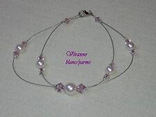 Bracelet assorti petit papillon 2 blanc et parme, bijoux mariage.