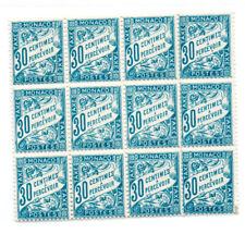 MONACO -- Bloc de 12 timbres Taxe 30 c. bleu
