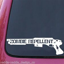 "CAR - Zombie Repellent Assault Shotgun - Car Vinyl Decal - (3.5""w x 11.25)(WHITE"