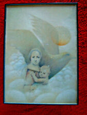 Vintage Miniature Pencil Drawing Madonna & Child with Dove and Sun Unsigned 5x7