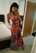 Stunning Pink Plunging Backless Strappy Long Maxi Dress, Size 10-12