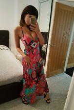Atemberaubende Pink stürzt Rückenfrei Riemen Lang Maxi Kleid, Größe 10-12