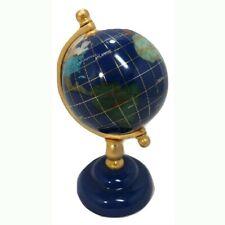 "World Globe Tripod Stand Map Atlas Handcrafted Gemstone Semi-Precious Jewels 6"""