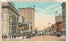 Penn and Center Avenues Looking West East Liberty Pittsburgh PA Postcard