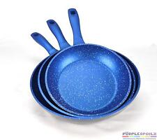 NEW FLAVORSTONE BLUE STONE MARBLE COATED FRYPAN SET 3 Cookware Fry Pan Induction
