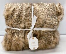 "NEW Pottery Barn TEEN Faux Fur 45"" x 60"" Throw Blanket~Leopard"