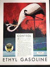 Ethyl Gas  Original Ad 1930 Art Deco Etark Davis Artrageous ! Bird Art