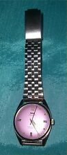 HMT Pilot 17J Hand Wind Wrist Watch - Silver Tone /Band - Lavender Face
