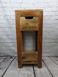 Lamp table mango wood distressed finish bedside table with drawer 70cm