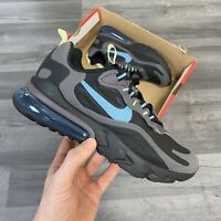 NIKE AIR MAX 270 REACT GS BG KIDS TRAINERS BLACK BLUE SHOES SIZE UK5 US5.5 EU38