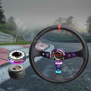 Neo Chrome Deep Dish Steering Wheel Hub Adapter Combo Kit For Eagle Talon 95-99