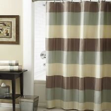 """Croscill Fairfax Taupe 72"""" x 72"""" Fabric Shower Striped 100% Polyester"""