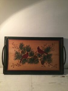 """19.5""""x12""""x1.5"""" Painted Wood Tray Reclaimed Metal Handles Cardinals Christmas"""