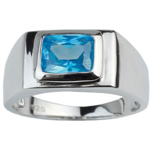 Oblong Solitaire Stone .925 Sterling Silver Ring for Men Classic Dress Jewelry