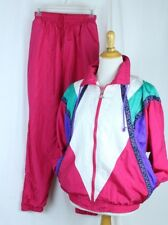Vtg Tracksuit Pants and Jacket Size Small Streetwear Lined Nylon Hot Pink Multi