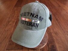 U.S Military Vietnam Veteran Hat Ball Cap Stone Washed Od Green