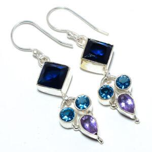 """Blue Sapphire & Amethyst- 925 Sterling Silver Earring Jewelry 2.03"""" S2692"""