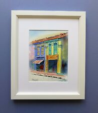 "Original Framed Watercolour ""Colourful Shop Houses"", Little India, Singapore."