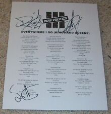 NEW POLITICS SIGNED AUTOGRAPH EVERYWHERE I GO LYRICS SHEET w/PROOF DAVID BOYD +2