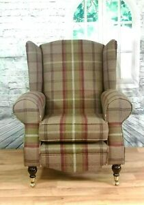 Wing Back Queen Anne Cottage  Accent Chair Balmoral Heather Tartan