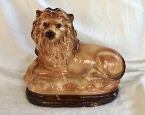 Vintage Staffordshire Porcelain Recumbent Lion Figure Sculpture w/Glass Eyes