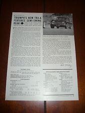 1966 TRIUMPH TR4 A SPORTS CAR   - ORIGINAL VINTAGE ARTICLE