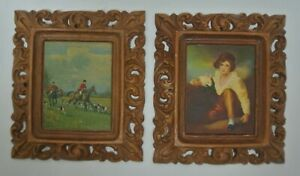 Set of Two Brown Resin Prints with Ornate Frames