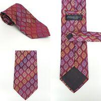 "PIATTELLI PLATINUM - Men's Maroon Gold Silver Multi-Color Silk Tie 58"" X 3.75"""