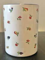 Vintage French Country White Ceramic Crock Flowers & Fruit Made in Japan