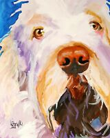 Italian Spinone Art Print Signed by Artist Ron Krajewski Painting 8x10 Dog