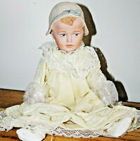 ANTIQUE REPRODUCTION 12 in HUEBACH BONNET BABY JEANNIE DI MAURO PORCELAIN DOLL