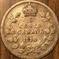 1910 CANADA SILVER 5 CENTS COIN