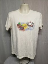 Mario with Nintendo Game Console Adult Large Cream TShirt