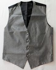 "Mens silver and black waistcoat patterned with spots Chest 42"" Large tuxedo vest"